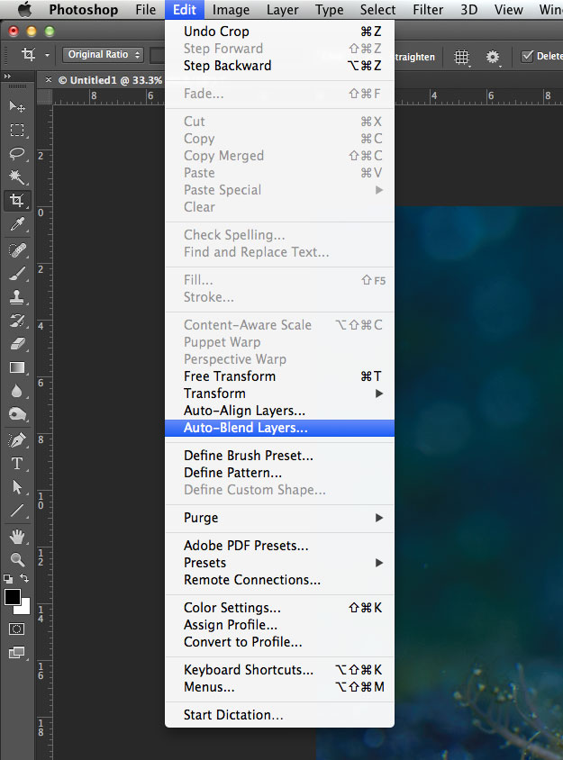 how to get rid of ratio crop in photoshop